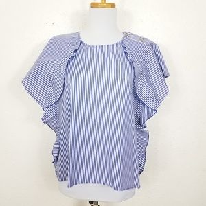 Zara Basic Striped Ruffle Short Sleeve Top Sz S